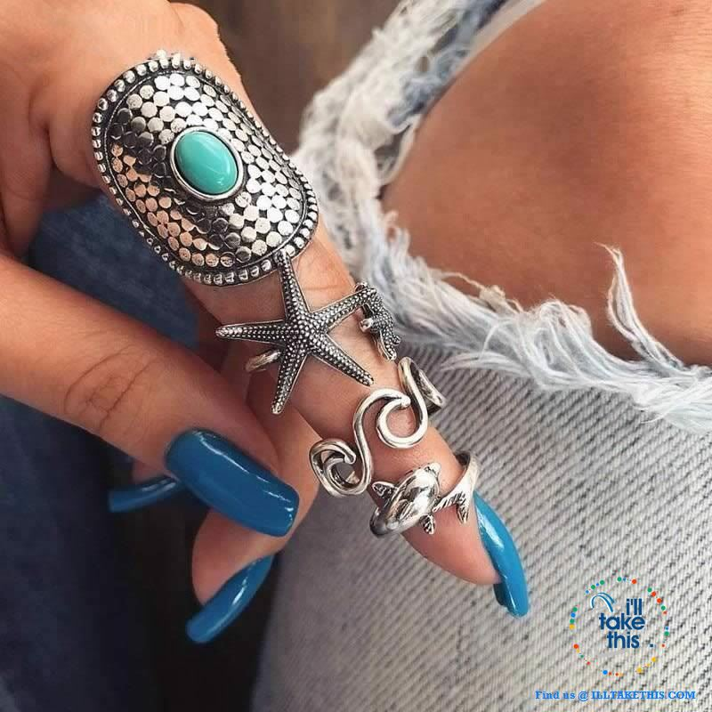 Bohemian Vintage Silver color Dolphin, Starfish and Wave Knuckle Rings Set - I'LL TAKE THIS