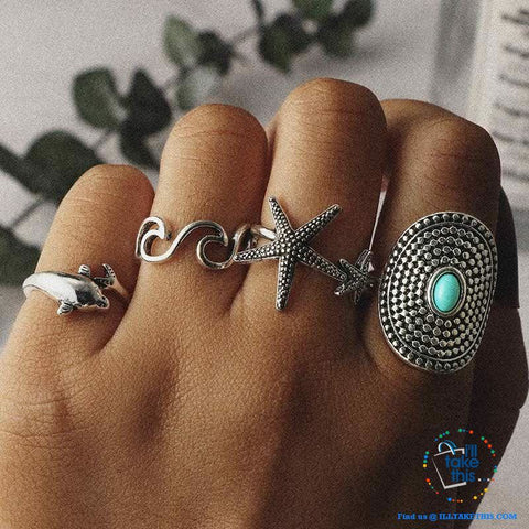 Image of Bohemian Vintage Silver color Dolphin, Starfish and Wave Knuckle Rings Set - I'LL TAKE THIS