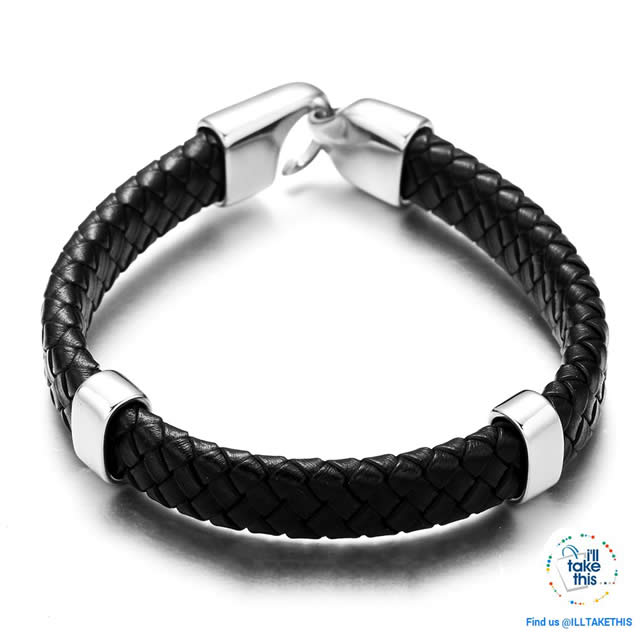 Superior quality Braided Leather Men's/Women's Bracelet Stainless Steel easy fit Clasp -Black/Brown - I'LL TAKE THIS