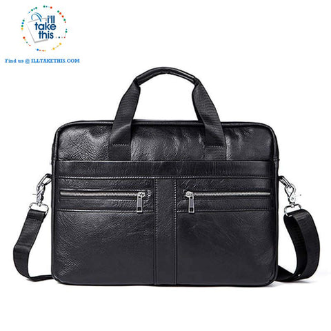 "Large 14"" Briefcase wrapped in Genuine Leather, Ideal male fashion Crossbody Bag - Black or Coffee - I'LL TAKE THIS"