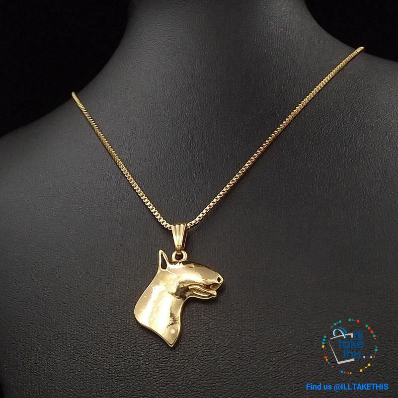 Bull Terrier Pendant with Bonus 45cm/17.7' Link chain, in Gold, Rose Gold or Silver Plating - I'LL TAKE THIS