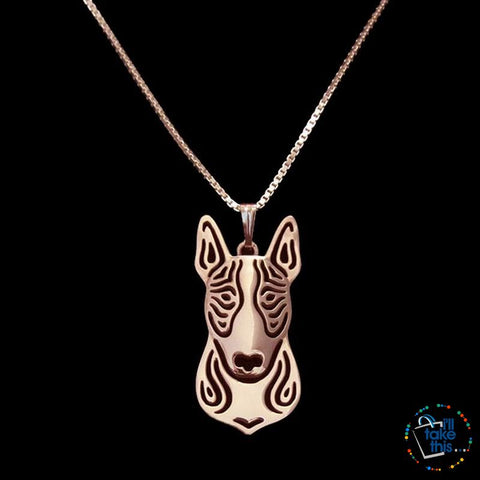 Image of Bull Terrier Lovers' a unique designed Pendant in Gold, Silver or Rose Gold Plating + BONUS Necklace - I'LL TAKE THIS