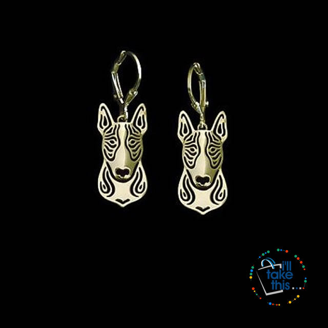 Handmade Bull Terrier Earrings - carved hollow jewelry in Silver or Gold plating Colors - I'LL TAKE THIS