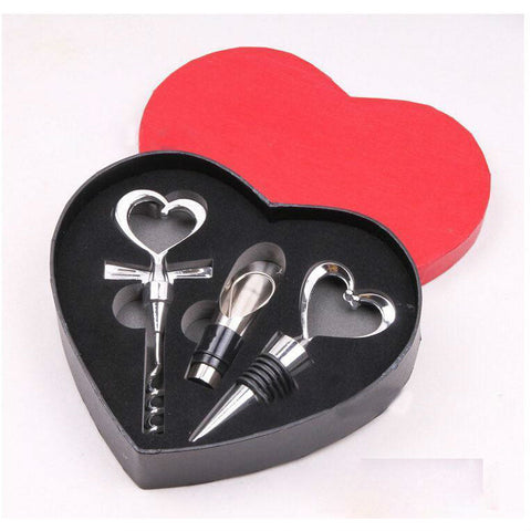 Image of Wine_Bottle Gift Set/Bar Tools in Love Heart Shape Corkscrew Wine_Opener Stopper Pourer Set 3 piece - I'LL TAKE THIS