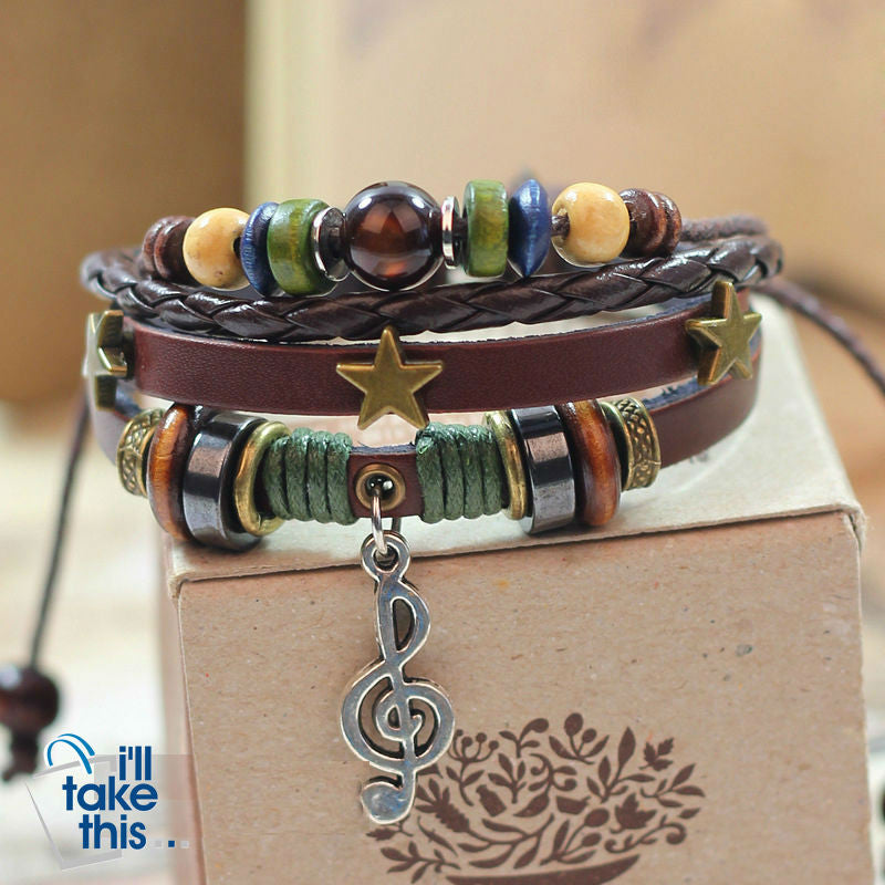 Leather Rope Wrap Bracelet, Punk Rock/Vintage Adjustable Layered Beads Charm Music Note Bracelets - I'LL TAKE THIS