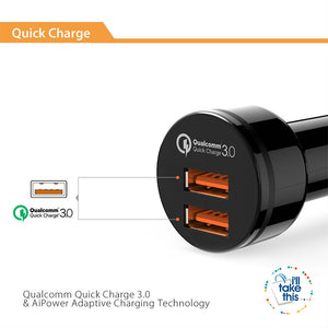 In-Car Charger Quick Charge 3.0 Dual QC 3.0 USB Car Phone Charger Suite most iPhone, iPad and Android devices