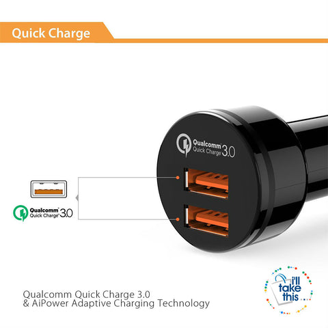Image of In-Car Charger Quick Charge 3.0 Dual QC 3.0 USB Car Phone Charger Suite most iPhone, iPad, Android - I'LL TAKE THIS