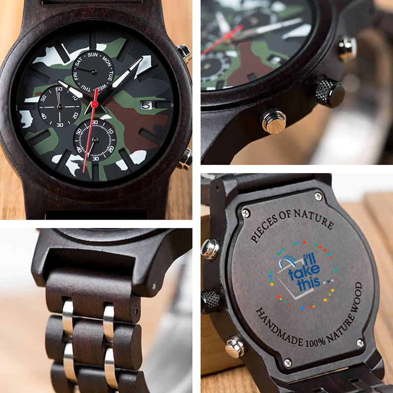 Men's Camouflage Army Green/Brown Wooden Military Style watch - Gift Box Series - I'LL TAKE THIS