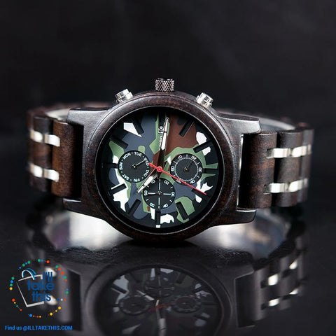 Image of Men's Camouflage Army Green/Brown Wooden Military Style watch - Gift Box Series - I'LL TAKE THIS