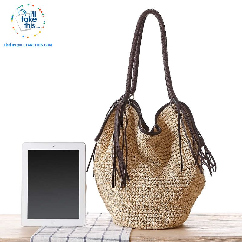 Big simple stylish over the shoulder Organic Tote bag, Woven Straw with 4 Gorgeous colors - I'LL TAKE THIS