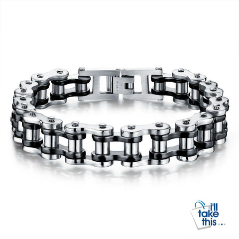 Image of Biker Chain Link Bracelet 316L Stainless Steel Mens Bracelet Jewelry - I'LL TAKE THIS