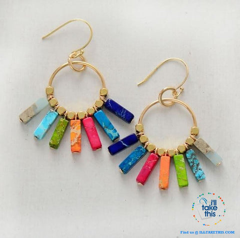 Image of Handmade Bohemian Multi-Colored Natural Stone Chakra Earrings - Gold Color Dangle Earrings - I'LL TAKE THIS
