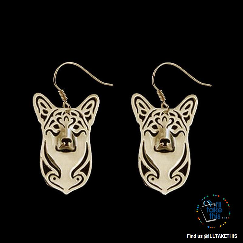 Corgi Drop Earrings in Gold or Silver Plating - Dog Lovers Favorite of the Pembroke Welsh Corgi Dog - I'LL TAKE THIS