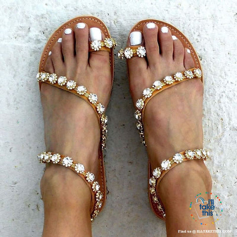 Image of Gorgeous Crystal Bohemian Beach Sandals, Get the LOOK in these Sparkling Crystal Women's Sandals - I'LL TAKE THIS
