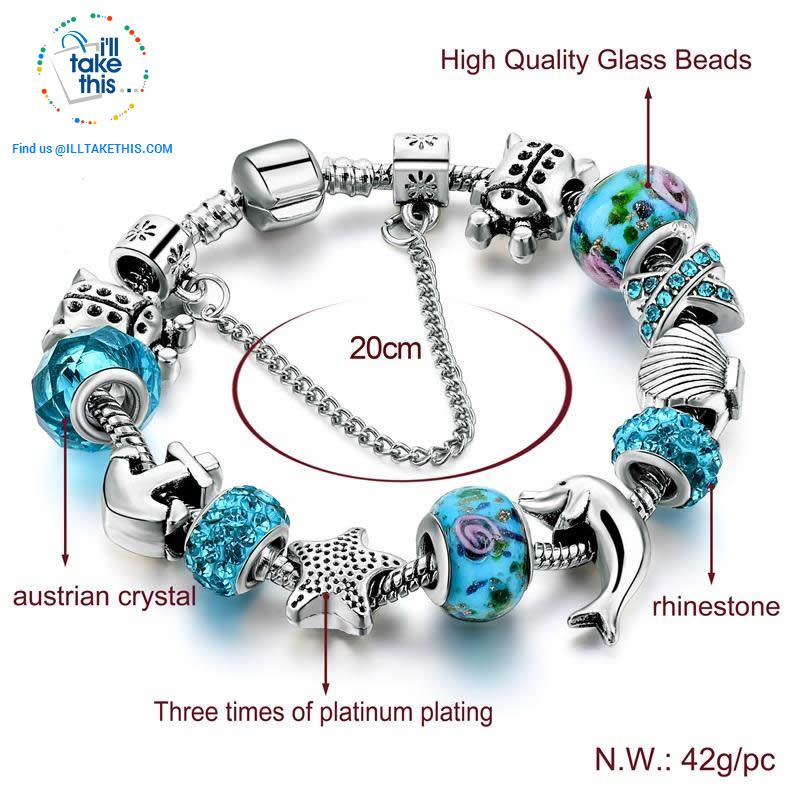 Aqua Marine Crystal Charm Bracelet Inspired Oceanic Style with Multiple Beads and Dolphin Charms - I'LL TAKE THIS