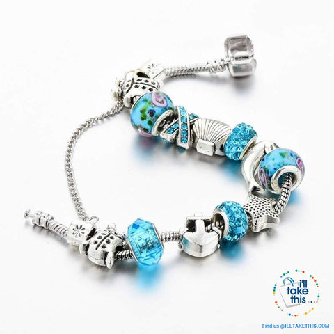 Image of Aqua Marine Crystal Charm Bracelet Inspired Oceanic Style with Multiple Beads and Dolphin Charms - I'LL TAKE THIS