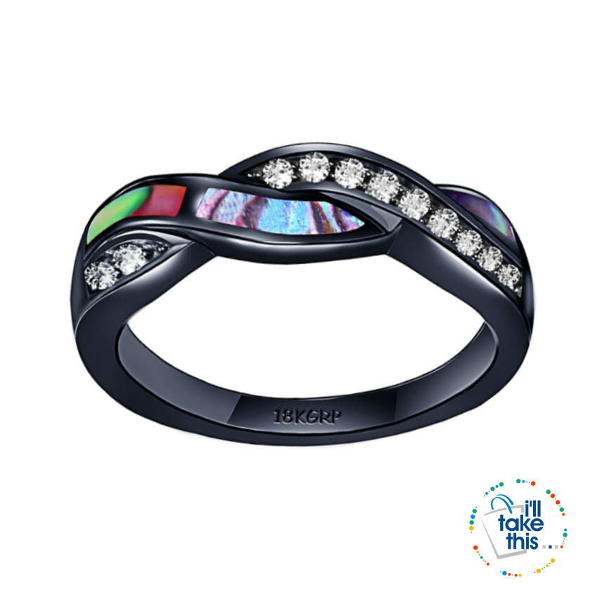 Black Gold-Filled Rainbow RING, Romantic Colorful Shell Rainbow Cubic Zirconia Cross Ring -9 sizes - I'LL TAKE THIS