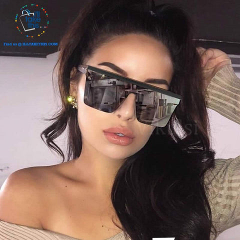 Designer Unisex Oversized SQUARE Sunglasses - Vintage Brand Designer Silver Mirror Sun Glasses - I'LL TAKE THIS