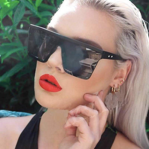 Image of Designer Unisex Oversized SQUARE Sunglasses - Vintage Brand Designer Silver Mirror Sun Glasses - I'LL TAKE THIS
