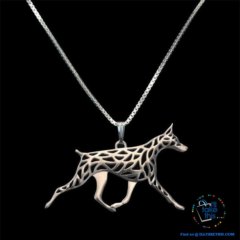 Doberman Dog Pendant in Gold, Silver or Rose Gold plating with BONUS Link chain - I'LL TAKE THIS