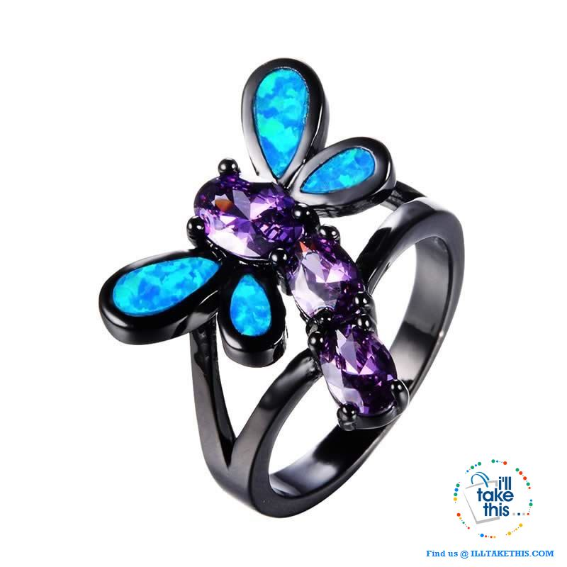 Black Dragonfly Opal and Cubic Zirconia RING 💍 - I'LL TAKE THIS