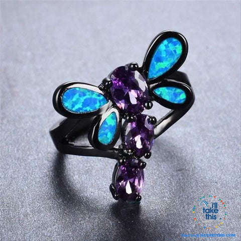Image of Black Dragonfly Opal and Cubic Zirconia RING 💍 - I'LL TAKE THIS
