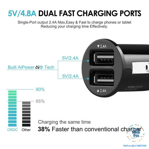 Image of Dual USB Car Charger Quick/Fast Charge Mobile Phone Car-charger adapter for iPhone/Samsung/Lg Phone - I'LL TAKE THIS