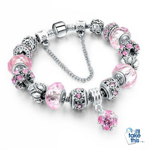 Crystal Beads Bracelets/Bangles Silver Plated Charm Bracelets For Women