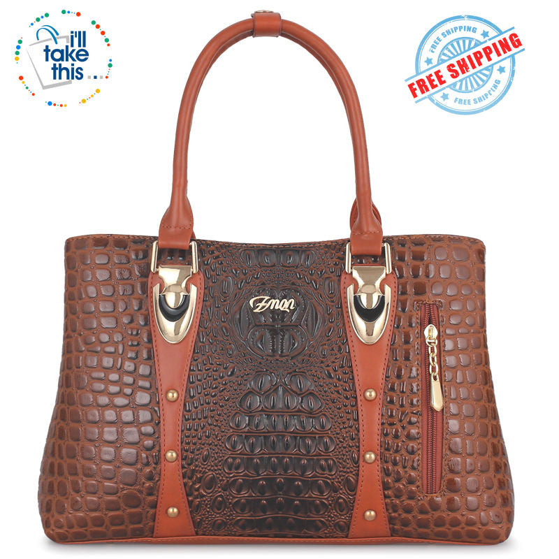 Crocodile/Alligator Design Vegan Leather Women's Handbag - FOUR Textured Colors - I'LL TAKE THIS