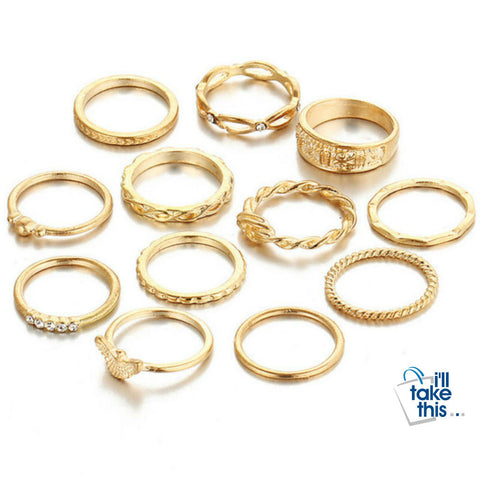 Image of Charm Gold Color Midi Finger Ring Set for Women 12 piece set Vintage Punk Boho Knuckle Party Rings Jewelry - I'LL TAKE THIS