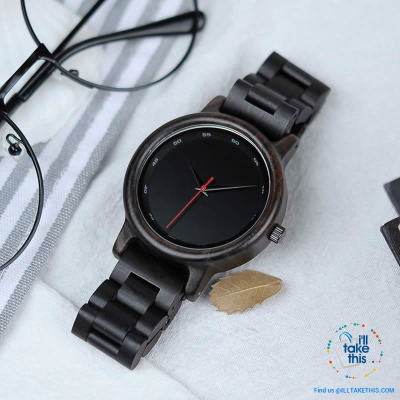 Unique Sleek, Modern Black faced all Wooden Wristwatch + Gift Box - I'LL TAKE THIS