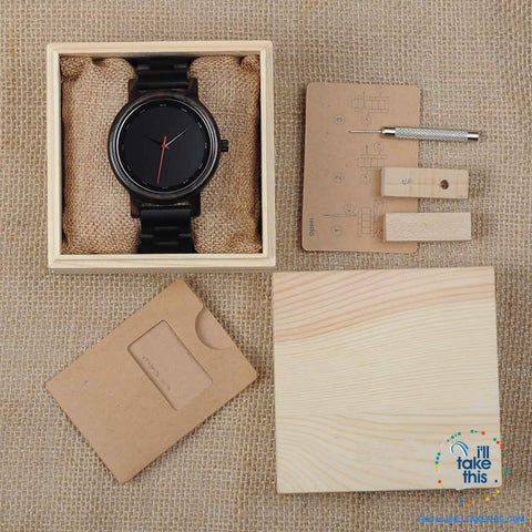 Image of Unique Sleek, Modern Black faced all Wooden Wristwatch + Gift Box - I'LL TAKE THIS