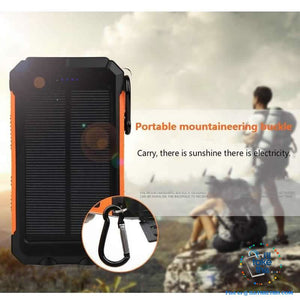 Eco-Friendly Solar Power Bank Real 20000 mAh Dual USB - Splashproof with Torch, 5 color options