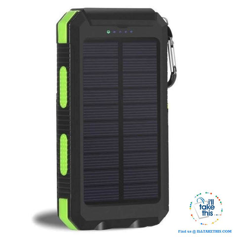 Image of Eco-Friendly Solar Power Bank Real 20000 mAh Dual USB - Splashproof with Torch, 5 color options - I'LL TAKE THIS
