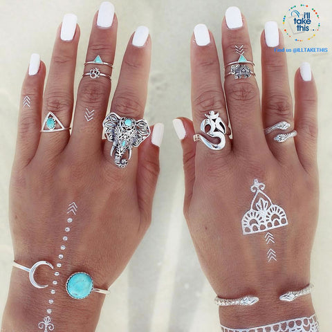 Image of Elephant and Snake Eight Piece Finger Ring set Bohemian/Gypsy/Vintage style Silver-plated Jewelry - I'LL TAKE THIS