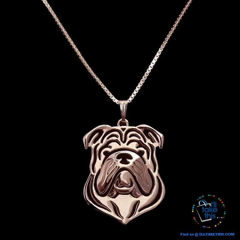 English Bulldog Lovers' a unique desig Pendant in Gold, Silver or Rose Gold Plating + BONUS Necklace - I'LL TAKE THIS