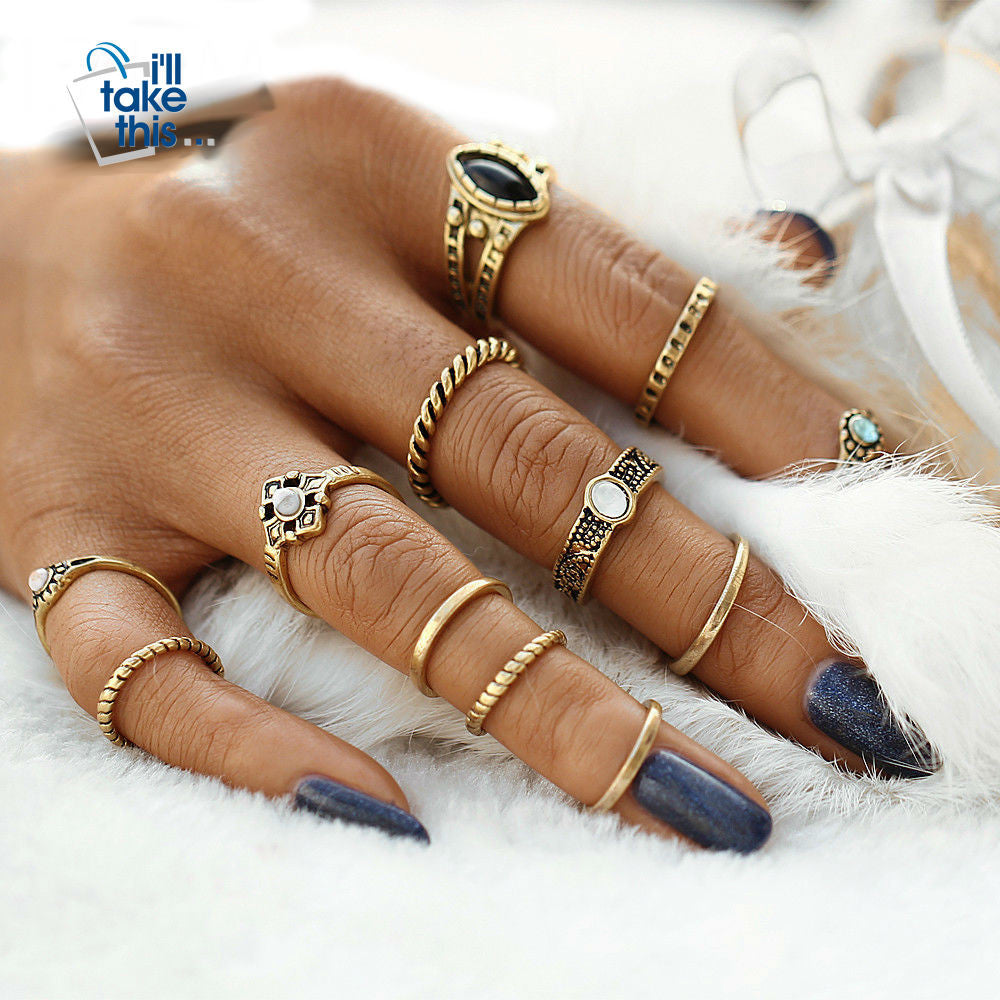 Fashion Vintage Punk Midi Rings Set Antique Gold Color Boho Style Female Charms Jewelry - 12pcs/sets - I'LL TAKE THIS