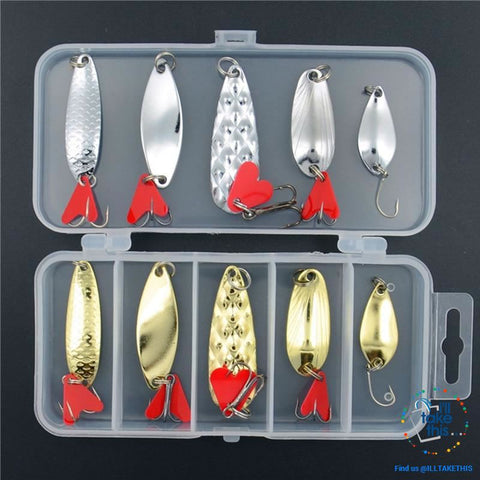 Image of Value Pack Mixed Color Fishing Wobbler/Spoon Lures all Metal hard bait with treble hooks - I'LL TAKE THIS