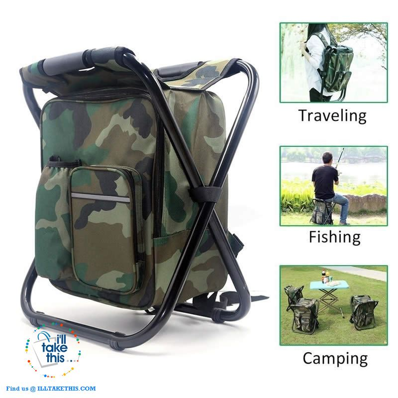 Folding Chair Stool Backpack with Insulated Cooler IDEAL for your next Fishing or Camping trip - I'LL TAKE THIS