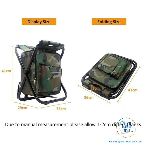 Image of Folding Chair Stool Backpack with Insulated Cooler IDEAL for your next Fishing or Camping trip - I'LL TAKE THIS
