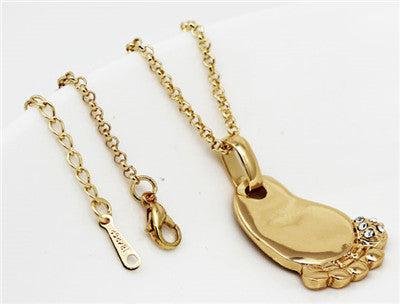 Cute baby foot ideal birth birthday gift Gold or Silver Plated Pendant with FREE Necklace - I'LL TAKE THIS