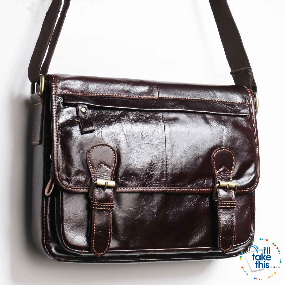 Business Style Vintage Shoulder bag with a tonne of room to go - Genuine Leather in Black or Brown - I'LL TAKE THIS