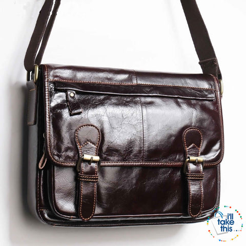 Image of Business Style Vintage Shoulder bag with a tonne of room to go - Genuine Leather in Black or Brown - I'LL TAKE THIS