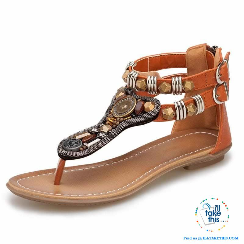 Gypsy Styled String/Beaded Sandals with rear zipper ideal Flat Shoe Flip flops - I'LL TAKE THIS