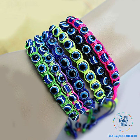 Handmade string evil eye bracelets blue evil eye good Luck bracelet Unisex design - I'LL TAKE THIS