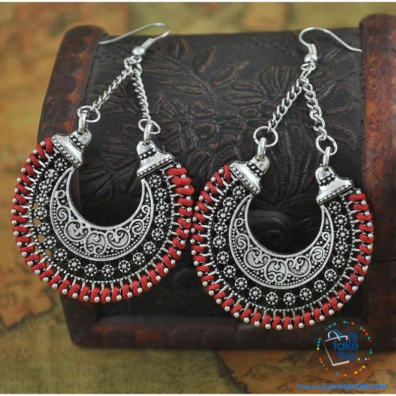 "💝 Handmade Bohemian Tibetan Vintage Round Drop Style Earrings 2.2""x1.43"" - 5 Colors choice - I'LL TAKE THIS"