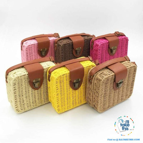 Image of Women's Handmade CUBE Bohemian inspired small Straw Crossbody Bag - 8 Fashionable Colors - I'LL TAKE THIS