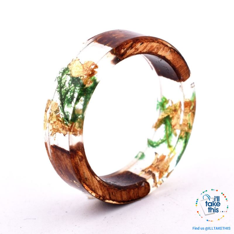 Handmade Floral, Wooden Resin Rings, featuring internal micro plants, beeswax polish finish - I'LL TAKE THIS