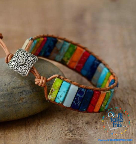 Handmade Multi Color Natural Stone strand Bracelets, Evoke your inner Chakra - I'LL TAKE THIS