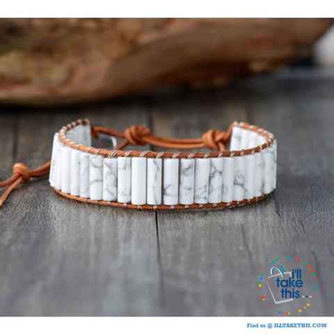 Image of Handmade Natural Stone Single Leather weaved wrap bracelets - I'LL TAKE THIS